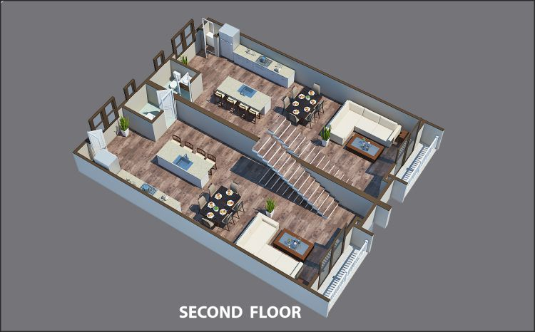 A rendering showing the second floor of a townhome in Atlanta with a gray backdrop.