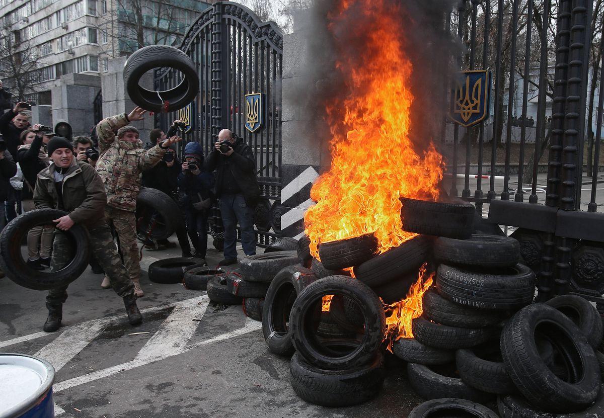 Aydar burning tires
