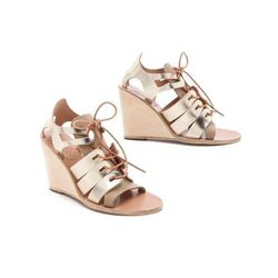 """<b>Ancient Greek Sandals</b> Dorotea Wedge Sandals in Taupe/Platinum, $330 at <a href=""""http://www.shopbop.com/dorotea-high-wedge-laceup-sandal/vp/v=1/845524441961792.htm?fm=search-shopbysize"""">Shopbop</a>"""