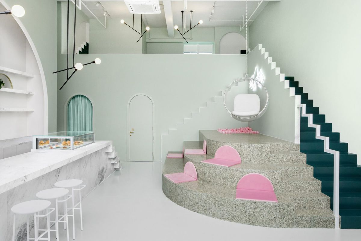 mint green and pink cafe in Chengdu