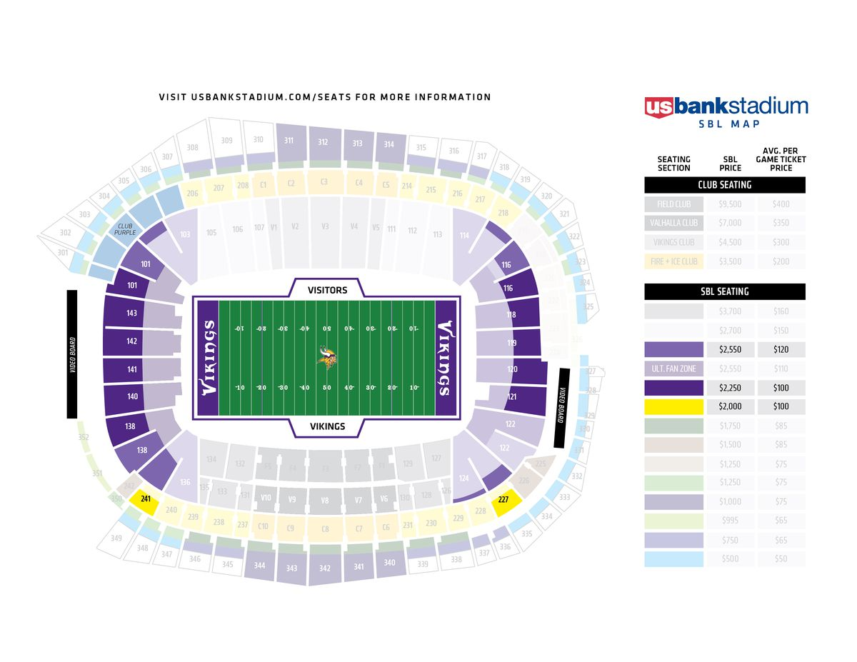 Ninety Percent Of Us Bank Stadium Psls Have Been Sold Daily Norseman - Us-bank-arena-seat-map