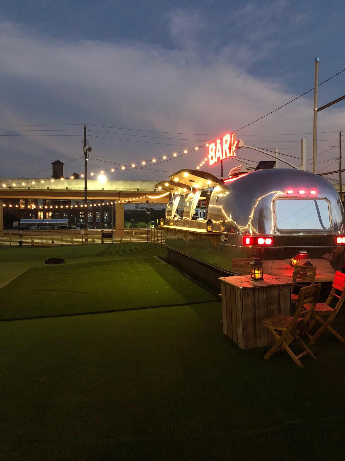 A photo of the Airstream trailer-turned-bar.