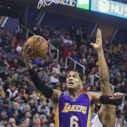 Los Angeles Lakers guard Jordan Clarkson (6) attempts a shot on basket while being guarded by Utah Jazz center Boris Diaw (33) during the second half at the Vivint Smart Home Arena in Salt Lake City on Thursday, Jan. 26, 2017. The Jazz went on to win, 96-88.