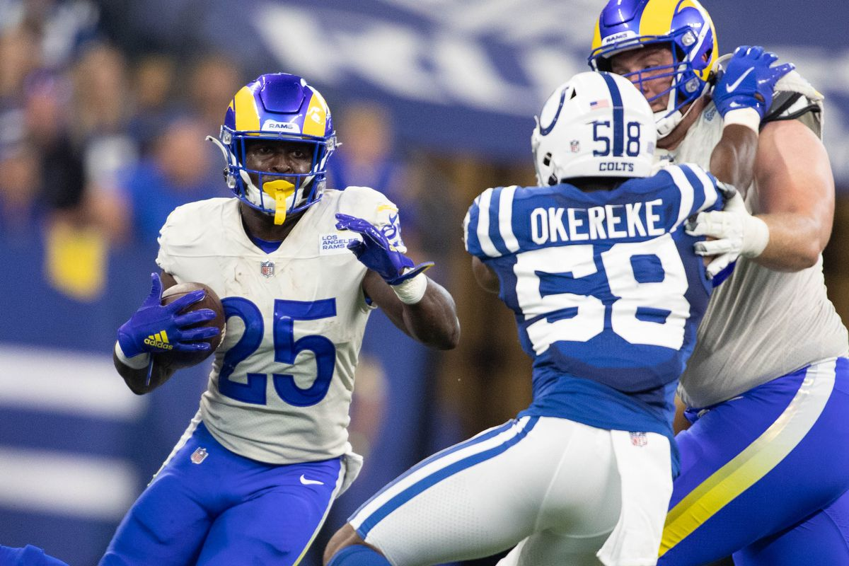 Los Angeles Rams running back Sony Michel (25) runs the ball in the second half against the Indianapolis Colts at Lucas Oil Stadium.