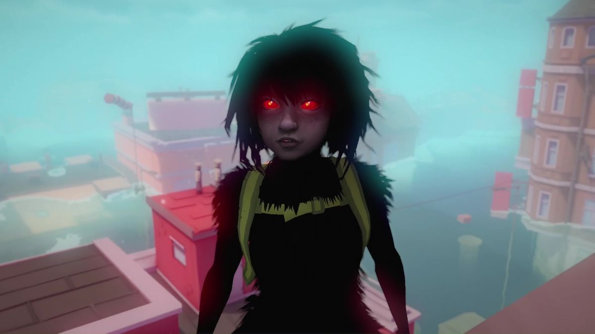 The main character from Sea of Solitude is named Kay. She's shown as a dark, shadowy creature with red eyes and wild hair.