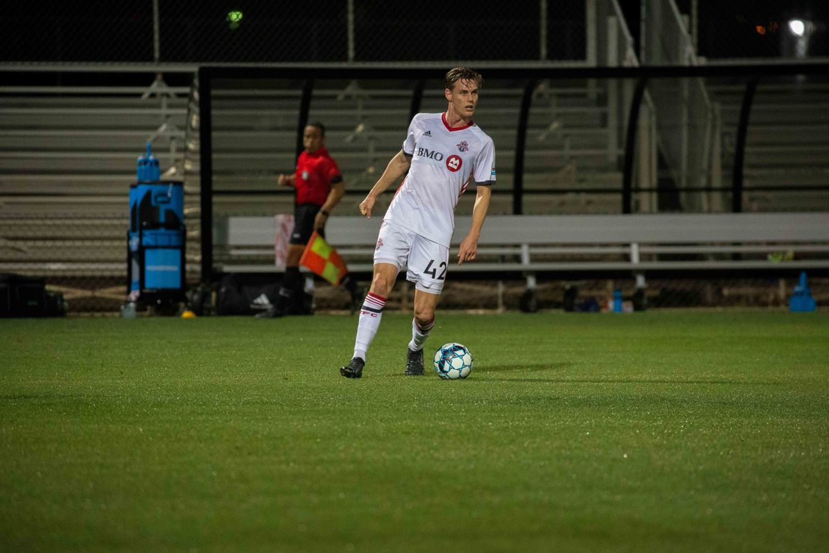 USL League One Photo - Toronto FC II defender Patrick Bunk-Andersen looks to initiate a forward move against FC Tucson