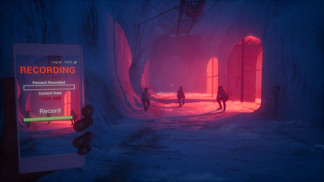 The Blackout Club - a party of four players progress through underground tunnels. The player in the back is recording the encounter on a cell phone.