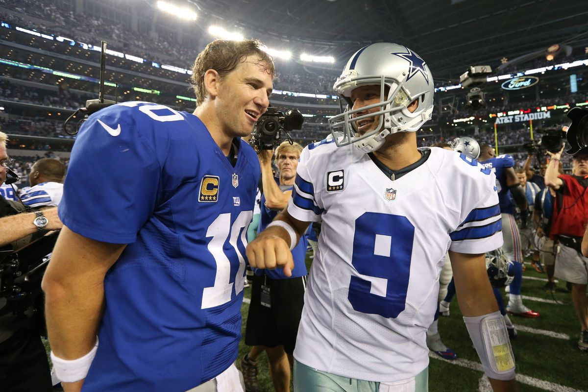 Eli Manning will look to avenge his team's early season loss to Tony Romo and the rival Cowboys.