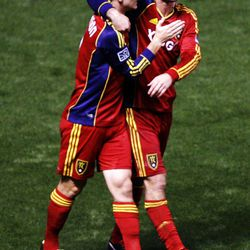 Will Johnson and Kyle Beckerman of Real Salt Lake celebrate Johnson's goal against DC United during their MLS matchup at Rio Tinto Stadium in Sandy Saturday, September 1, 2012