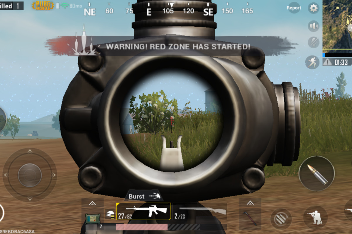 Looking down an ACOG scope in PUBG Mobile