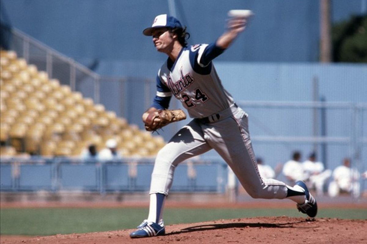Sep 1977; Los Angeles, CA, USA: FILE PHOTO; Atlanta Braves pitcher Mickey Mahler (24) pitches against the Los Angeles Dodgers at Dodger Stadium. Mandatory Credit: Darryl Norenberg-US PRESSWIRE