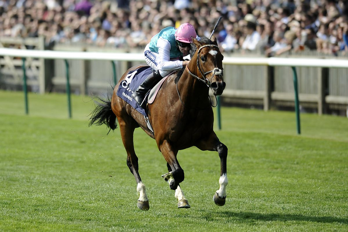 NEWMARKET, ENGLAND - APRIL 30:  Tom Queally riding Frankel easily win The Qipco 2000 Guineas Stakes at Newmarket racecourse on April 30, 2011 in Newmarket, England. (Photo by Alan Crowhurst/ Getty Images)