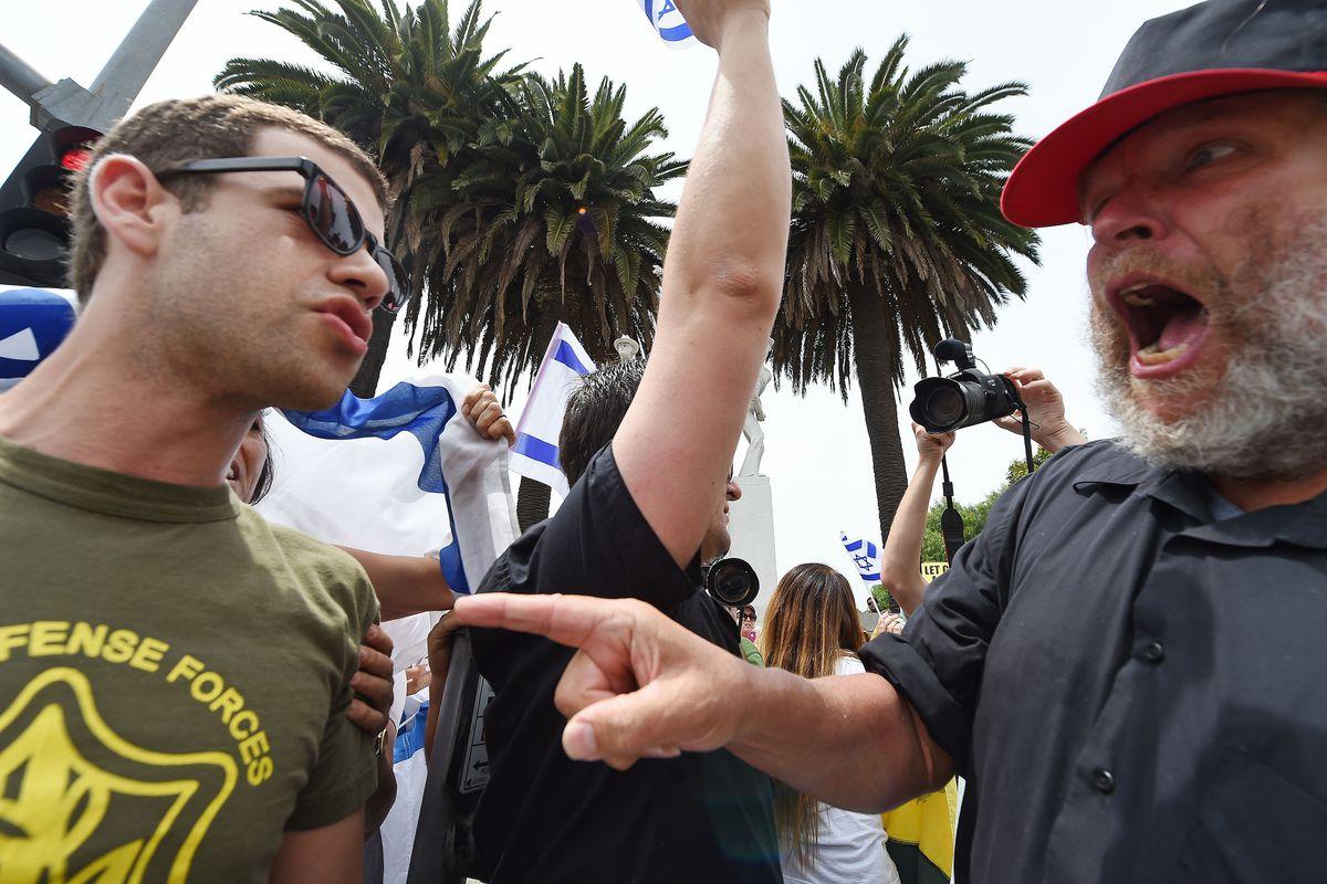 Protestors and counter-protestors argue over the Gaza war.