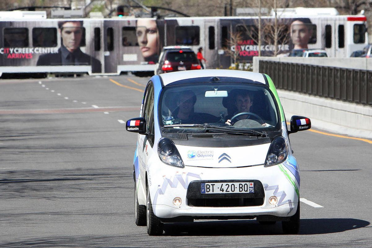 The world's first round-the-world tour in a standard electric car drives on South Temple as it stops in Salt Lake Tuesday, April 3, 2012. Utah received a B-plus for legislation it passed this last session promoting the use of electric vehicles and improvi