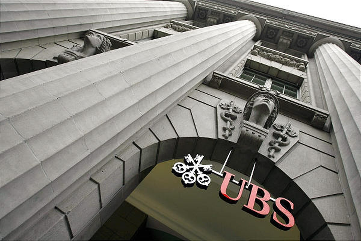In this Jan. 2008 file photo, the logo of Swiss Bank UBS on Zurich's Bahnhofstrasse, Switzerland.