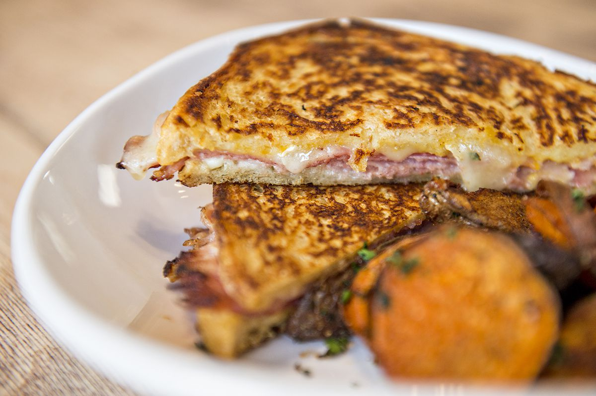 The Ivy Cristo with local ham, apricot jam and brie on pressed sourdough french toast at Ivy on 7th