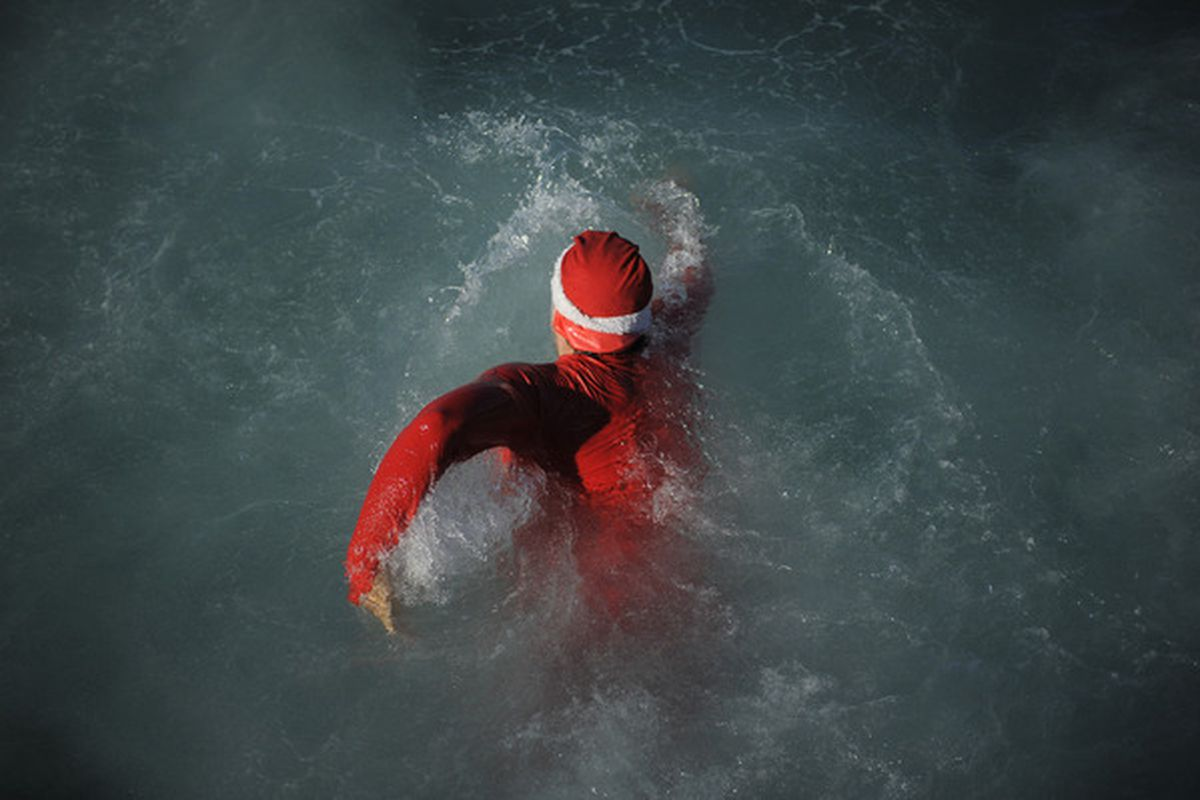 Ever wonder what Santa would look like if he crashed over the Pacific? Here you go.