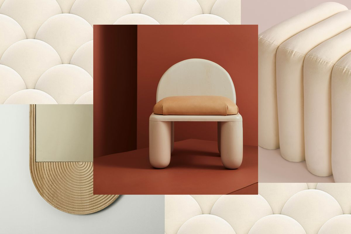 An assortment of images of furniture with rounded edges. In the center is a chair with thick rounded feet and a rounded top. In the other images are an assortment of white rounded furniture and one oval shaped mirror.