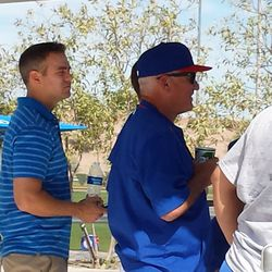 Theo and Joe watching Lester pitch -