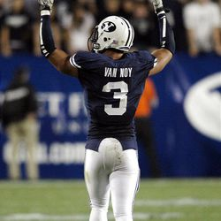 Brigham Young Cougars linebacker Kyle Van Noy (3) tries to get the crowd up against UCF  in Provo  Friday, Sept. 23, 2011. BYU won 24-17.