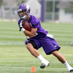 Jul 26, 2013; Mankato, MN, USA; Minnesota Vikings wide receiver Adam Thielen (19) practices during training camp at Minnesota State University. Mandatory Credit: Brace Hemmelgarn-USA TODAY Sports