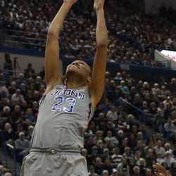 UConn's Azura Stevens (23) goes in for two during the Notre Dame Fighting Irish vs UConn Huskies women's college basketball game in the Women's Jimmy V Classic at the XL Center in Hartford, CT on December 3, 2017.