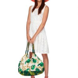 Eyelet dress in white ($39.99), striped hat in coral ($19.99), tote in wall paper floral print ($29.99), hoop earrings in gold ($14.99).