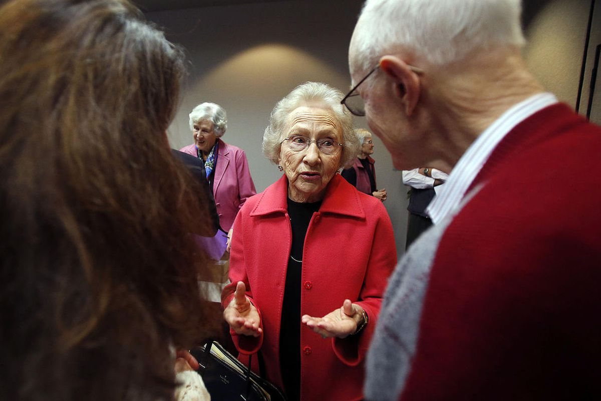 FILE - Aileen Clyde, former Relief Society Second Counselor in The Church of Jesus Christ of Latter-day Saints, talks after the Utah Citizens' Counsel announces its 2014 Assessment of Utah's Policy Progress in Salt Lake City, Wednesday, Dec. 10, 2014.