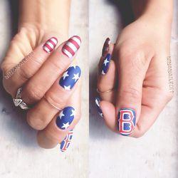 Matte America Boston by Nina Park aka @NinaNailedIt