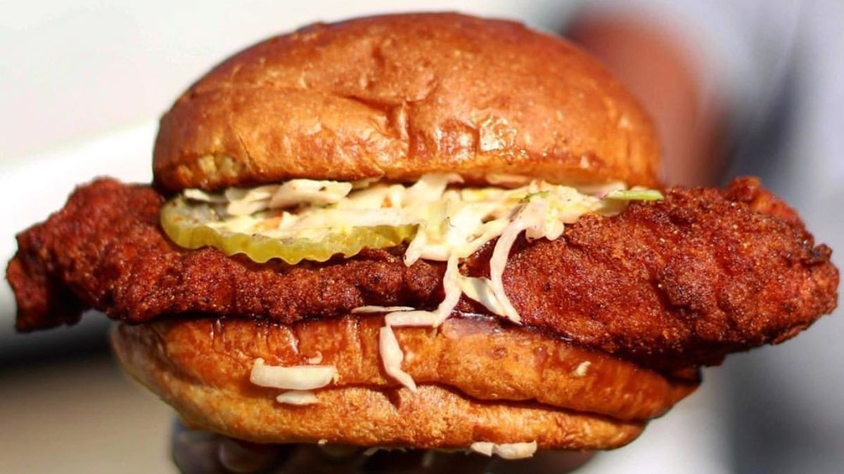 Nashville style hot chicken sandwich with cole slaw and pickles
