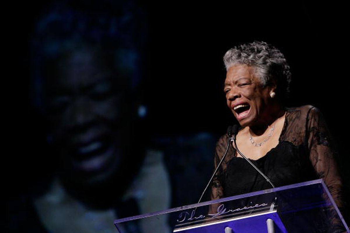 . Maya Angelou on stage during the 33rd Annual American Women In Radio & Television Gracie Allen Awards at the Marriott Marquis on May 28, 2008 in New York City.