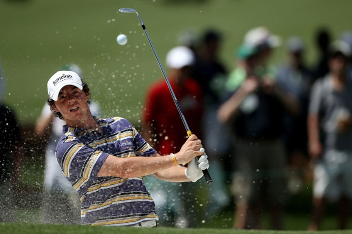 AUGUSTA, GA - APRIL 05:  Rory McIlroy of Ireleand hits a shot during a practice round prior to the 2010 Masters Tournament at Augusta National Golf Club on April 5, 2010 in Augusta, Georgia.  (Photo by Andrew Redington/Getty Images)