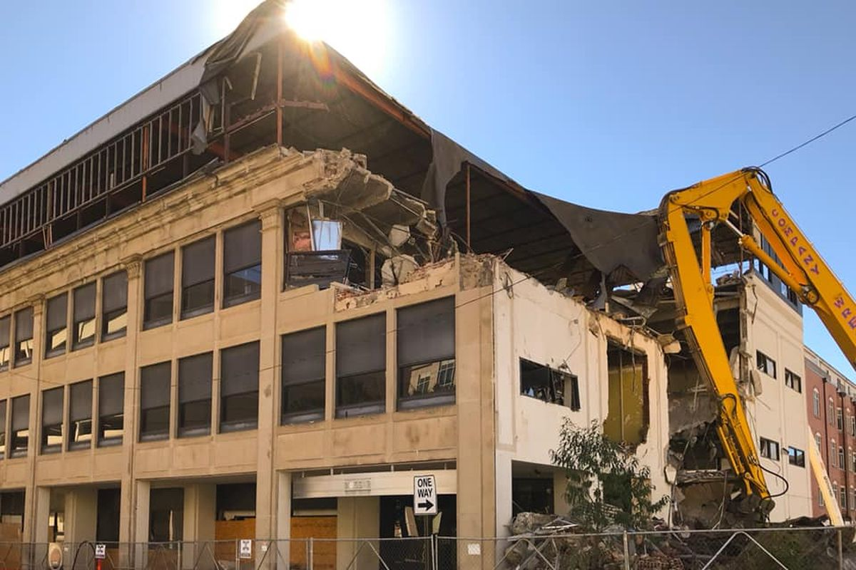 Demo work in recent days at a downtown building from the 1920s.