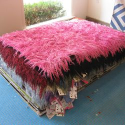 Brightly-colored angora goat hair rugs from Istanbul
