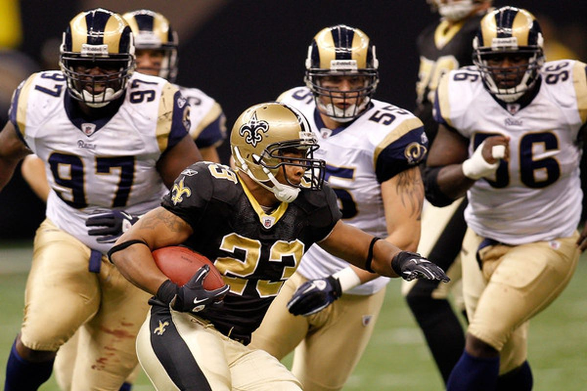 The New Orleans Saints are favored by more than two touchdowns over the St. Louis Rams this week.