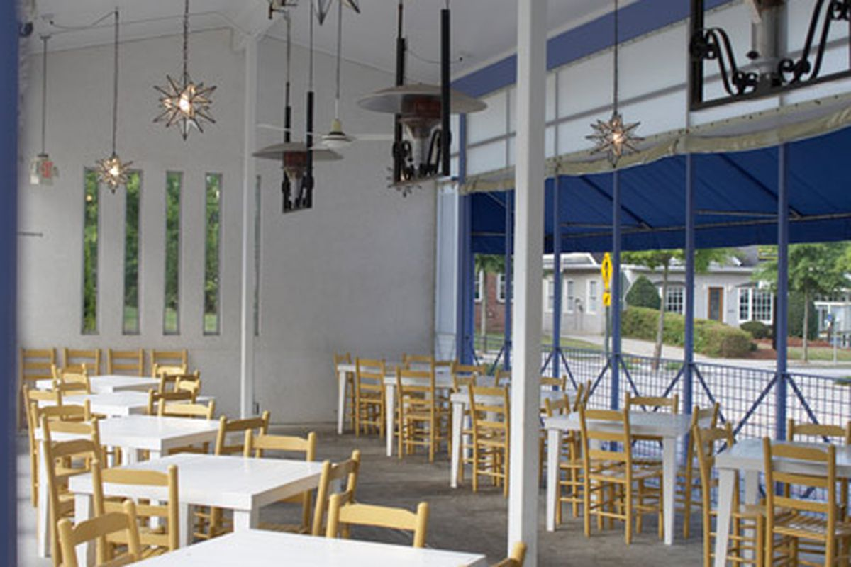 Inside the patio dining area in Decatur's Taqueria del Sol