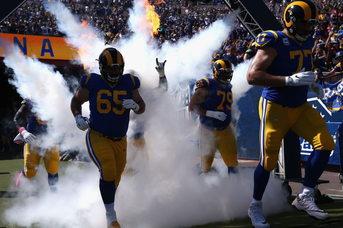 (l to r) Los Angeles Rams C John Sullivan, RT Rob Havenstein and LT Andrew Whitworth take the field prior to a game against the Seattle Seahawks in Week 5, Oct. 8, 2017.