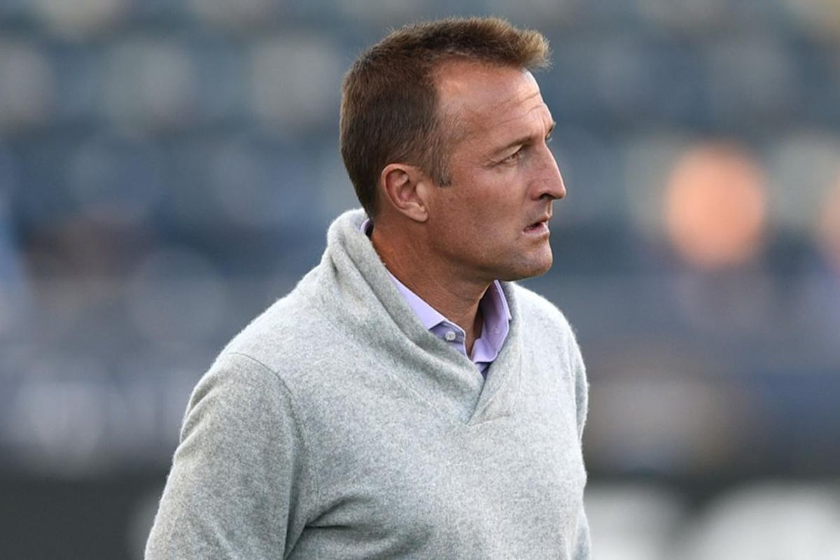 Orlando City head coach Jason Kreis walks along the bench area during the second half of an MLS soccer match against the Philadelphia Union on Sunday, Oct. 16, 2016, in Chester, Pa. Orlando City won 2-0.