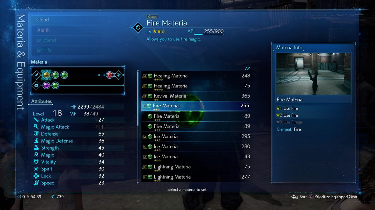 Final Fantasy 7 Remake AP SP Upgrade Weapons level up Materia