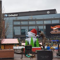 The Cubs office building, and setup for the holidays on Gallagher Way