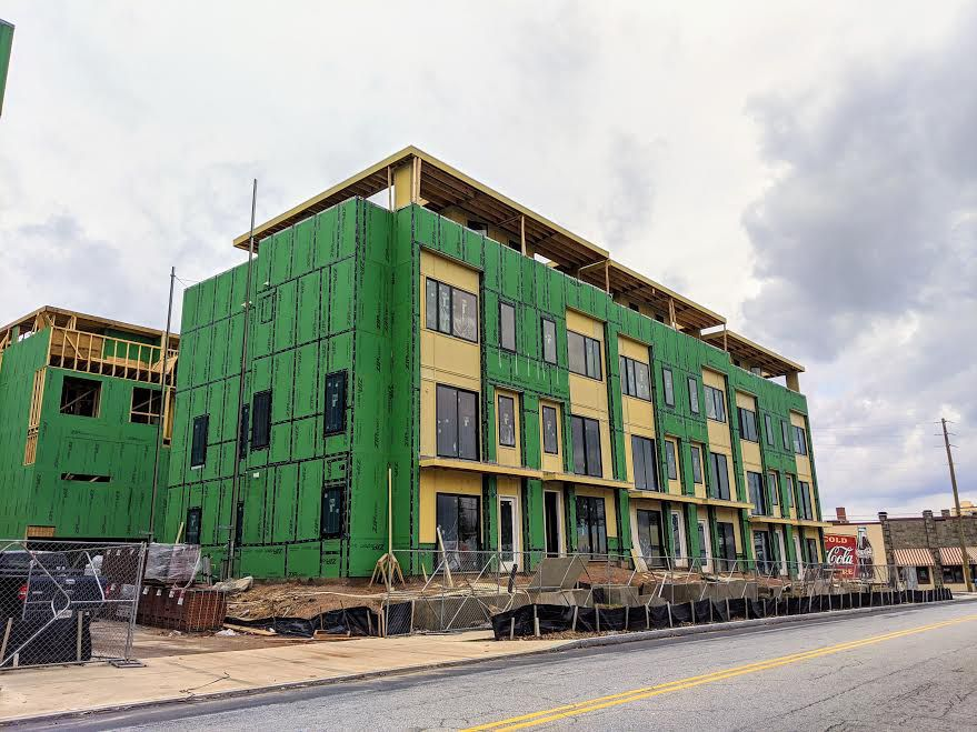 A row of townhomes being built in Atlanta.