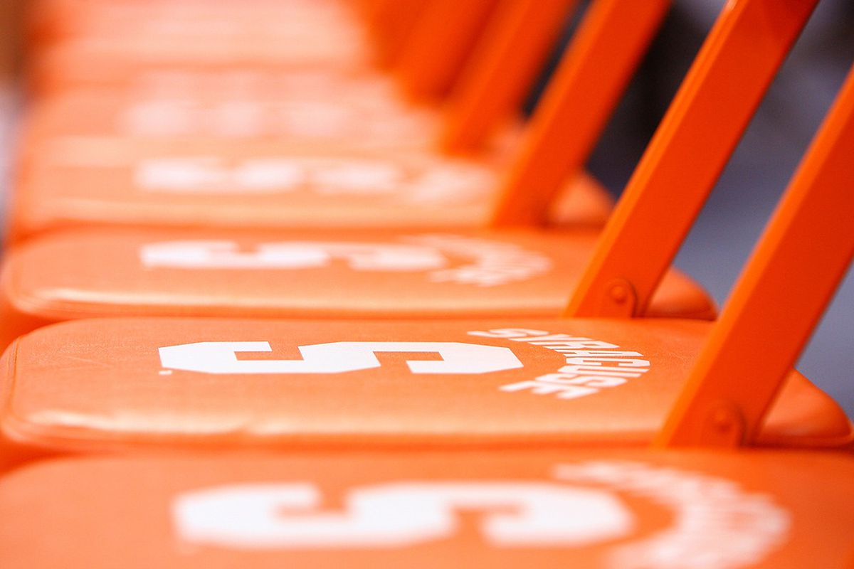 SYRACUSE, NY - NOVEMBER 19: Seats on the Syracuse bench with the Syracuse Orange logo are seen prior to the game against the Colgate Raiders at the Carrier Dome on November 19, 2011 in Syracuse, New York. (Photo by Nate Shron/Getty Images)