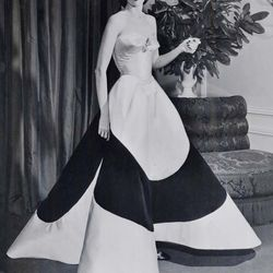"""Austine Hearst in Charles James's """"Clover Leaf"""" gown, circa 1953."""
