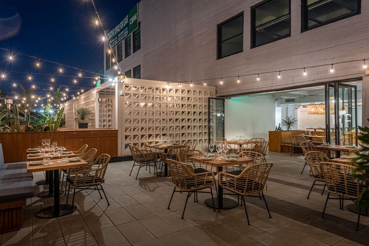 Outdoor dining area at Cha Cha Cha in Downtown Los Angeles
