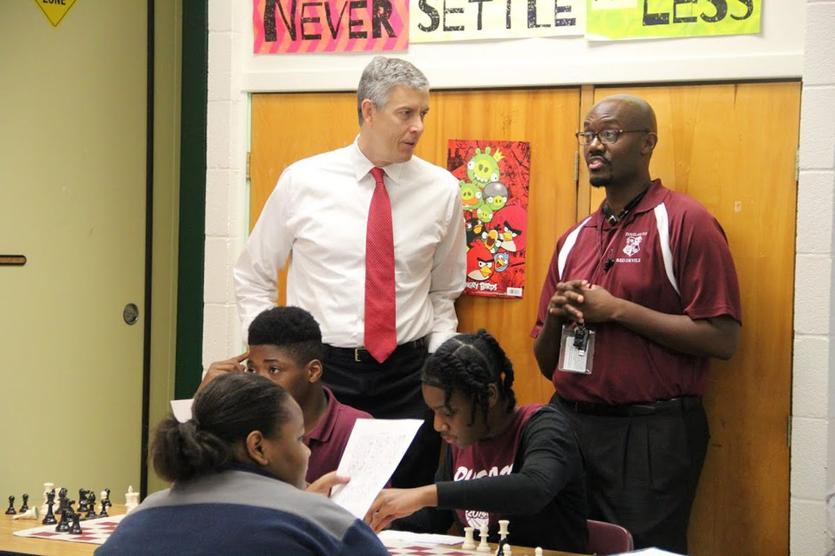 Outgoing U.S. Education chief Arne Duncan visits Memphis in October. Tennessee has overhauled much of its public education system to align with Duncan's agenda related to academic standards, accountability and improvement of struggling schools.
