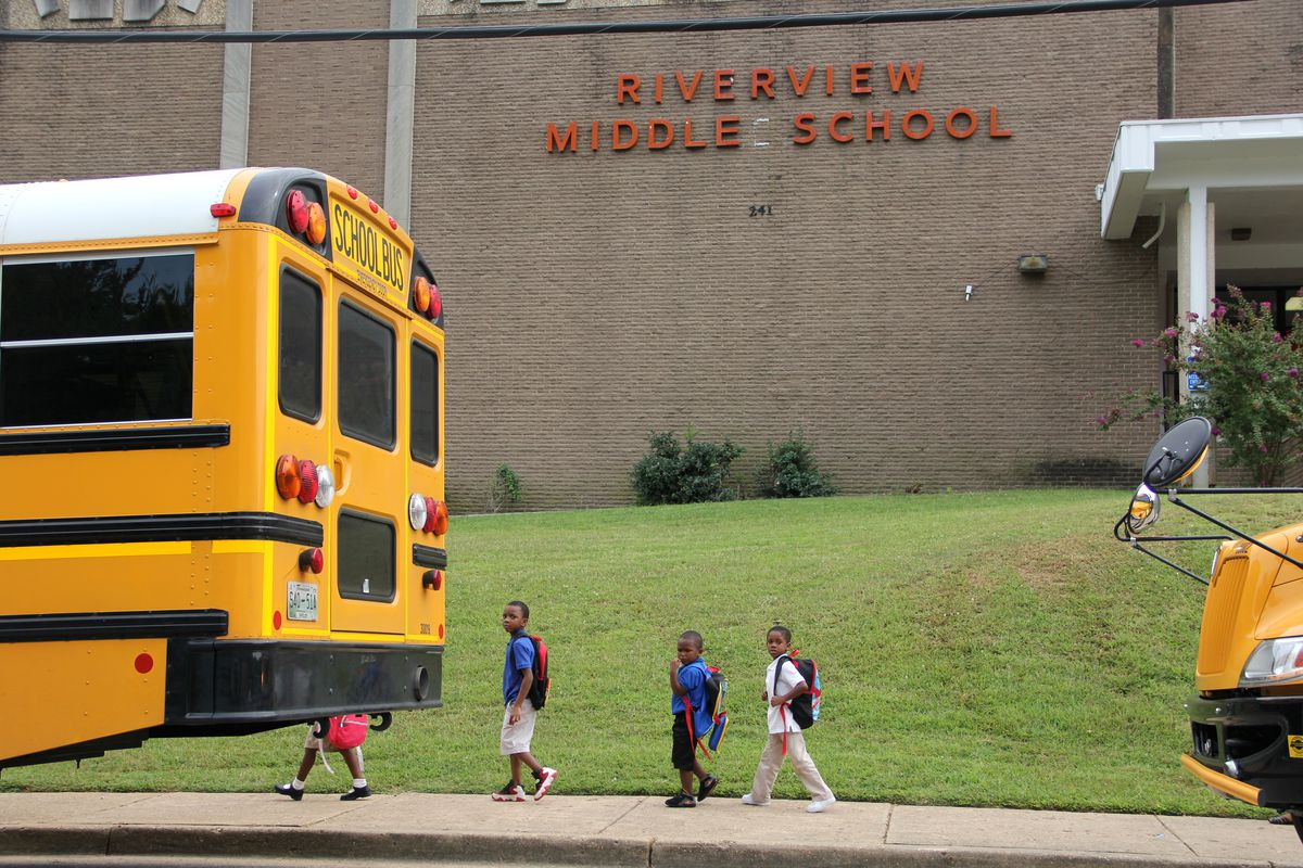 Riverview School, near downtown Memphis, includes elementary-age children, as well as middle school students who live in a mostly low-income community. Shelby County leaders chose Riverview as the site to announce the district's funding lawsuit against the state.