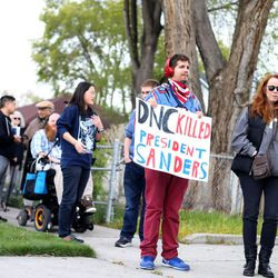 """Silas Janjua, of Sandy, and others wait in line to attend the """"Come Together and Fight Back"""" tour with Vermont Sen. Bernie Sanders and Democratic National Committee Chairman Tom Perez at the Rail Event Center in Salt Lake City on Friday, April 21, 2017. The tour is part of the process of creating a Democratic Party that is strong and active in all 50 states, and a party that focuses on grass-roots activism and the needs of working families."""