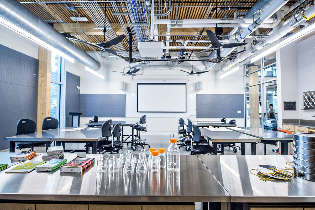 A lab with black modern ceiling fans overhead and walls of high windows.