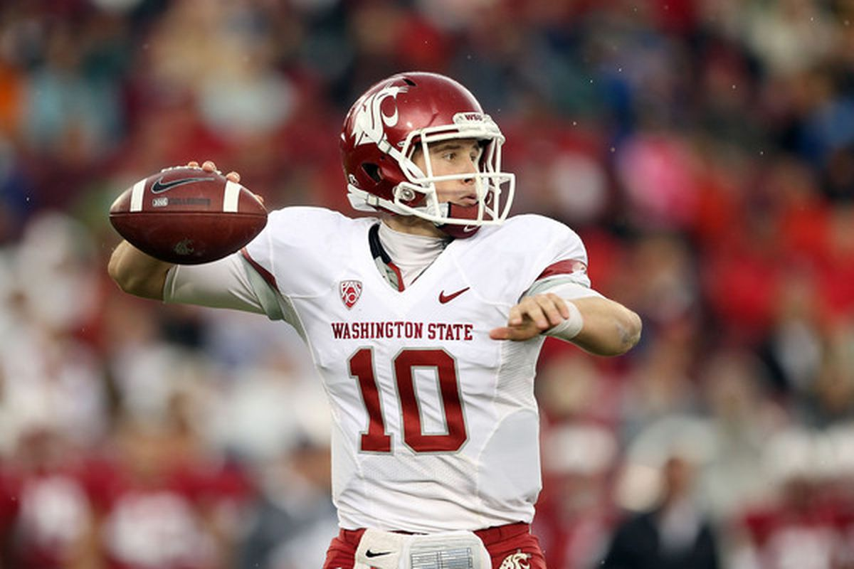 PALO ALTO CA - OCTOBER 23:  Jeff Tuel #10 of the Washington State Cougars passes the ball against the Stanford Cardinal at Stanford Stadium on October 23 2010 in Palo Alto California.  (Photo by Ezra Shaw/Getty Images)