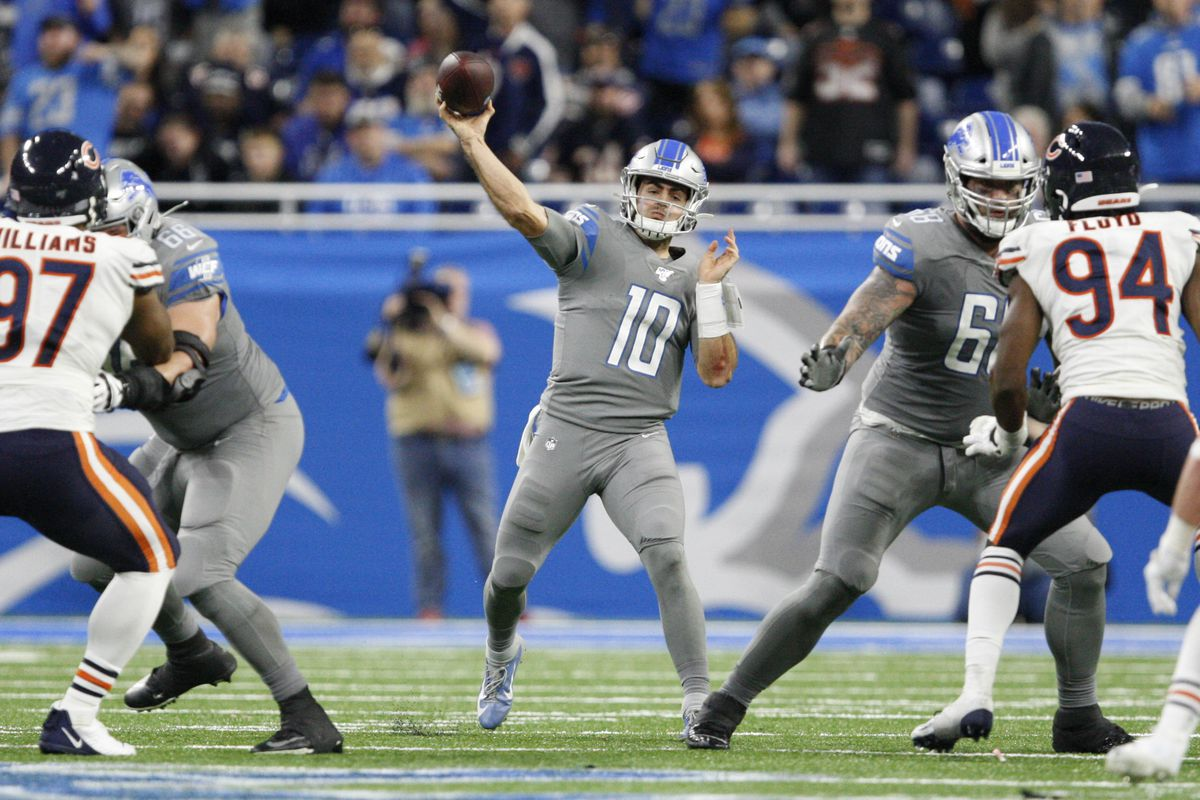 Detroit Lions quarterback David Blough passes the ball during the fourth quarter against the Chicago Bears at Ford Field.